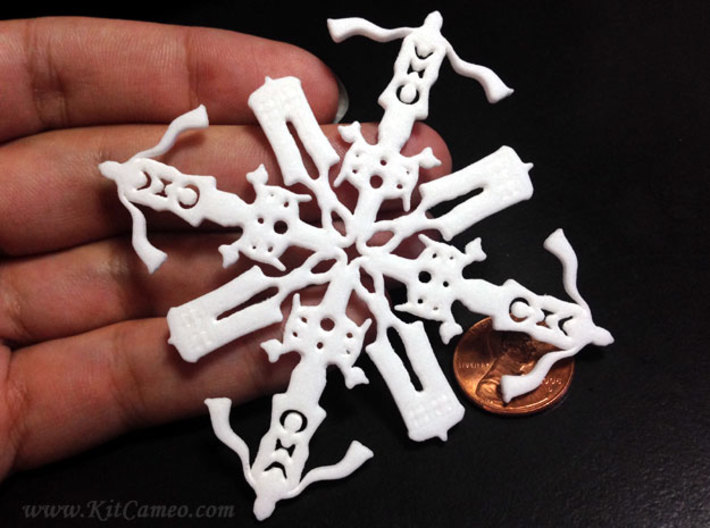 Doctor Who: Fourth Doctor Snowflake 3d printed Very fuzzy. Will have to try this one again at a larger size.