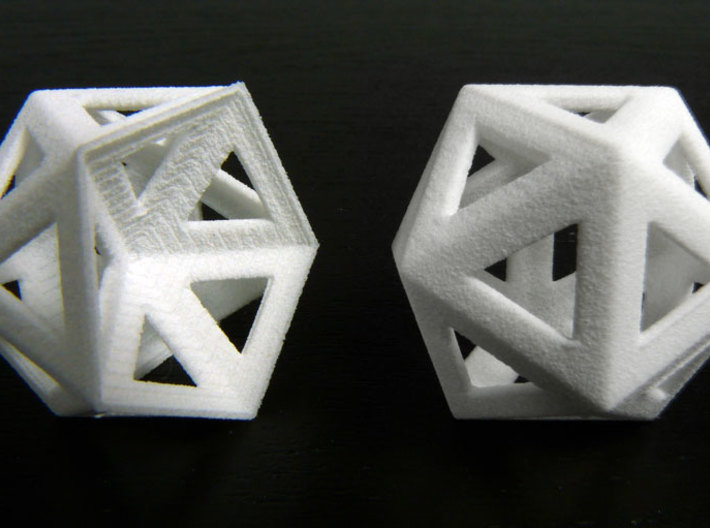 Dented icosahedron and icosahedron 3d printed