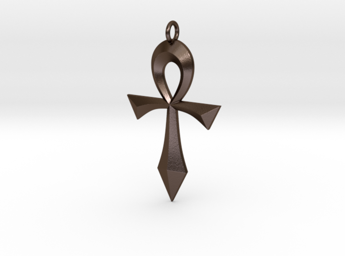 Swept Ankh 3d printed Swept Ankh in Polished Bronze Steel