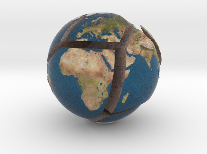 Relief planet Earth puzzle 3d printed