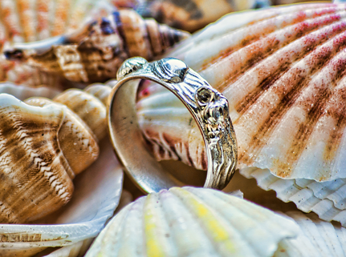 Sea Shell Ring 1 - US-Size 6 1/2 (16.92 mm) 3d printed