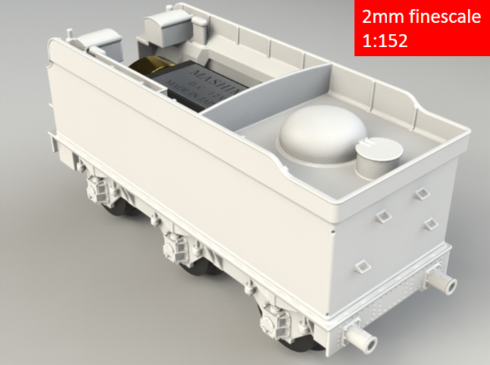 GWR Collett 4000 gal tender, motor cutout, 2mm FS 3d printed Rendering - rear