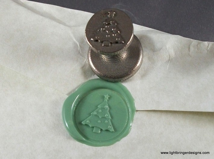 Christmas Tree Wax Seal 3d printed Christmas Tree wax seal with impression in Light Green wax