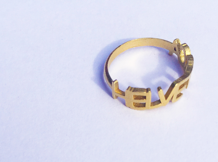 The Helvetica ring (Size K, 50). 3d printed