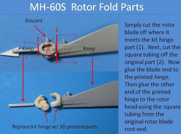 1/35 rotor hinge for MH-60S (Academy) 3d printed