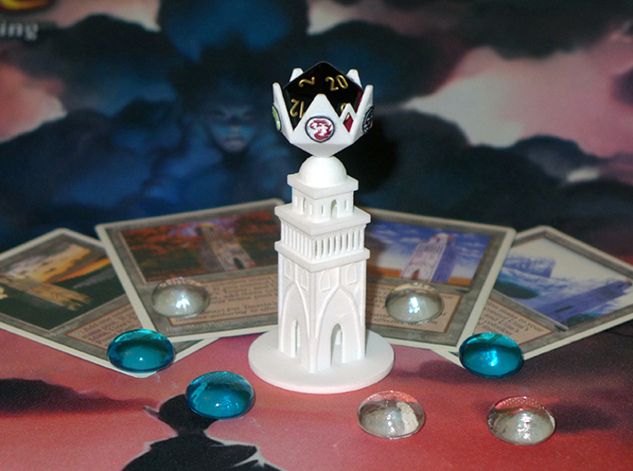 Urza's Tower D20 Holder 3d printed WSF Polished and Painted
