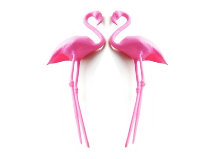 Flamingo Cake Topper 2X 3d printed Flamingo Cake Topper - Pink