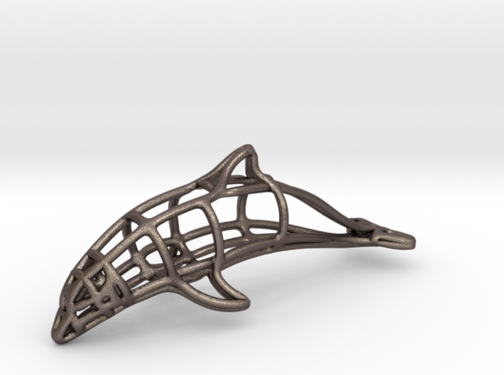 Dolphin Wireframe Keychain 3d printed