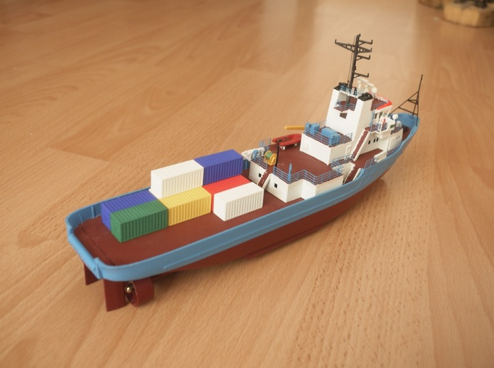 20 Foot Container (1:200 scale, hollow) 3d printed containers loaded on model of Anticosti