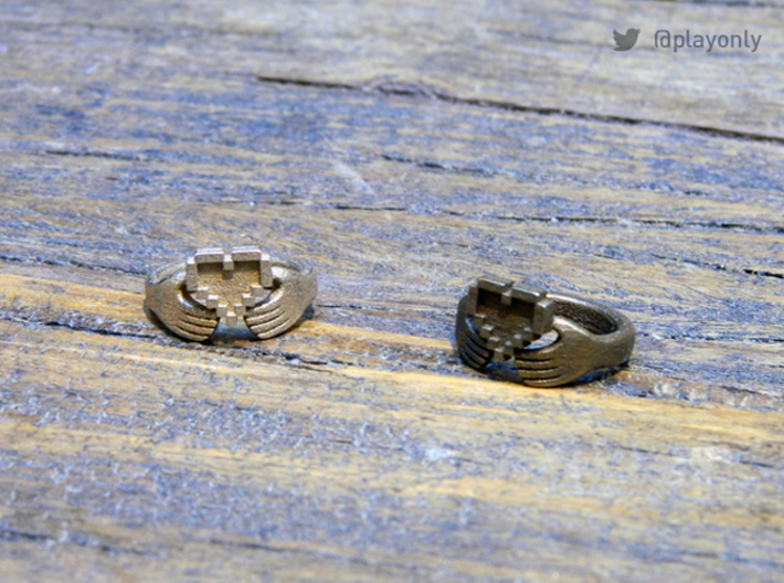 8bit Claddagh Ring  3d printed Steel & Bronze Glossy
