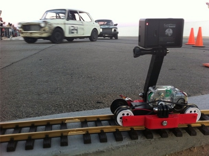 Train-lapse rig for GoPro 3d printed I did a bunch of time-lapse video at the race track.