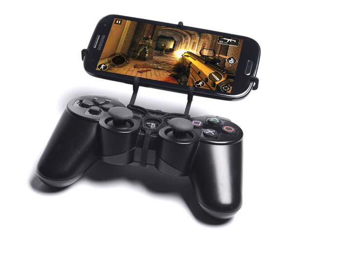 PS3 controller & Cat B15 Q 3d printed Front View - A Samsung Galaxy S3 and a black PS3 controller