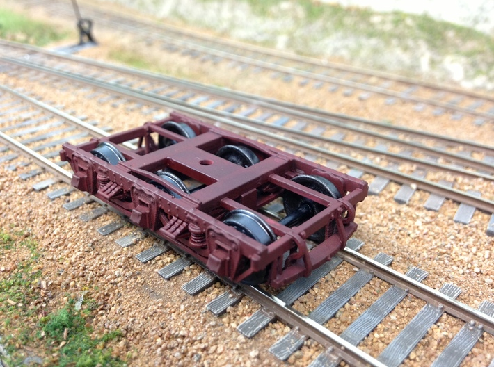 HO scale 6 wheel wood beam passenger truck 1 pair 3d printed