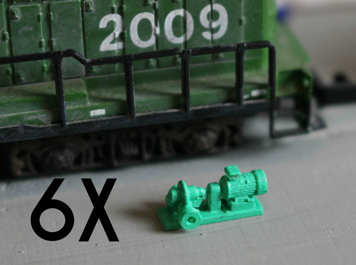 Centrifugal Pump #1 (Size 2 6pc) 3d printed Centrifugal Pump #1 size 2 next to an N scale locomotive