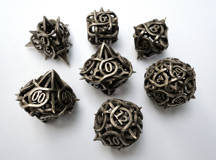 Thorn Dice Set with Decader 3d printed In stainless steel.