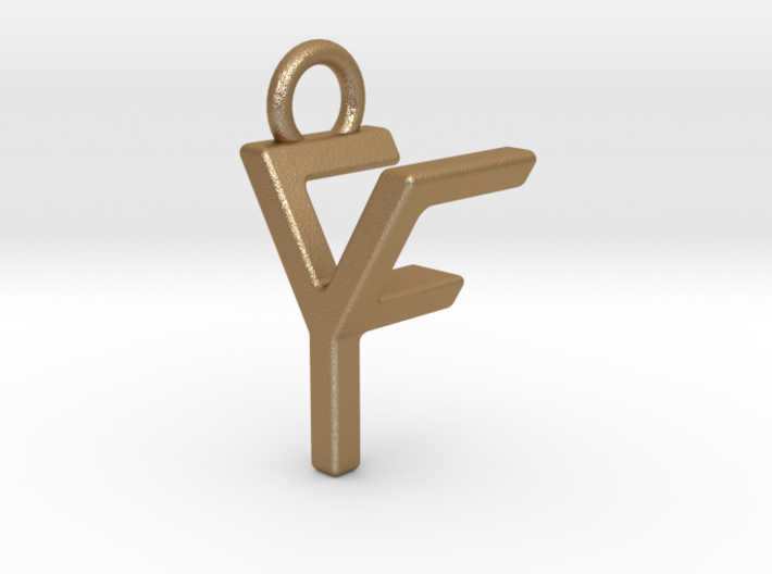 Two way letter pendant - FY YF 3d printed