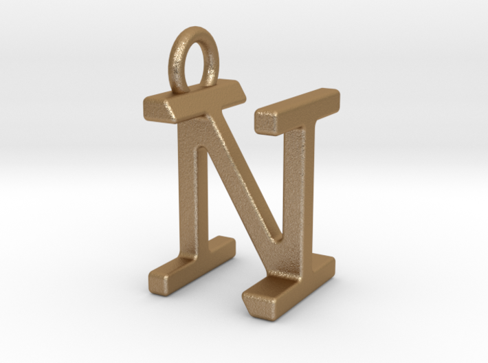 Two way letter pendant - IN NI 3d printed