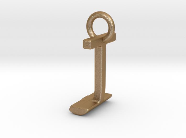 Two way letter pendant - IJ JI 3d printed