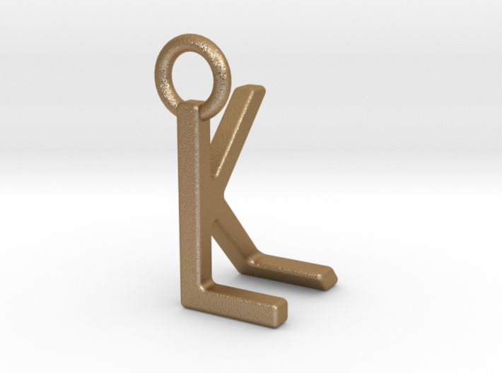 Two way letter pendant - KL LK 3d printed
