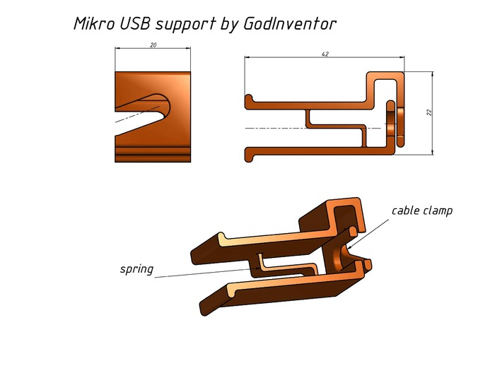 Micro USB Support 3d printed