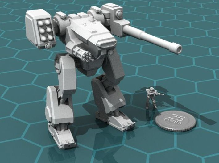 Terran Combat Walker, 15mm scale. 3d printed Render of the model, with a virtual quarter and 15mm soldier for scale.