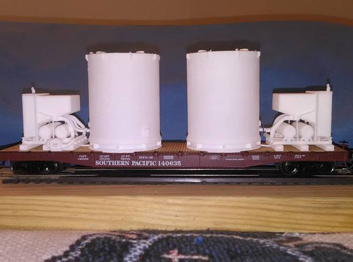 HO 1/87 Titan Rocket container & A/C unit x2 3d printed A pair of unpainted containers & A/C units on an SP flatcar.