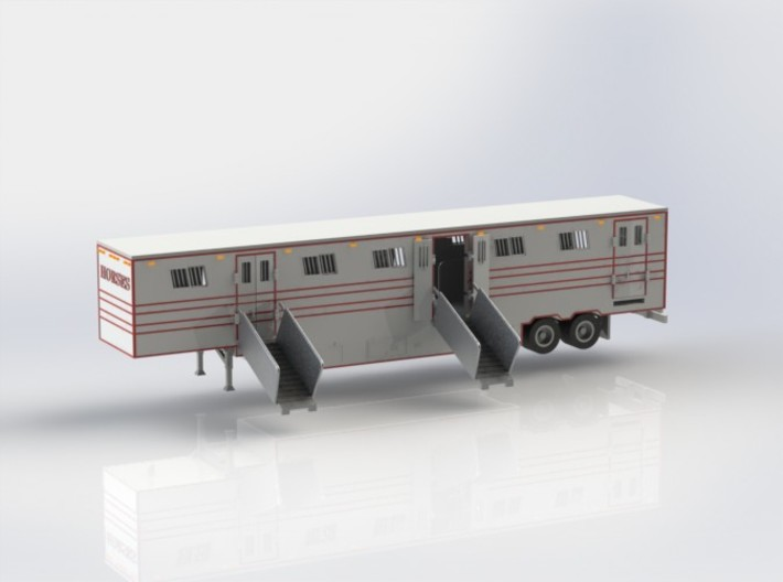 HO 1/87 Horsebox 56' Semi 01 3d printed CAD render showing Promotex chassis fitted.