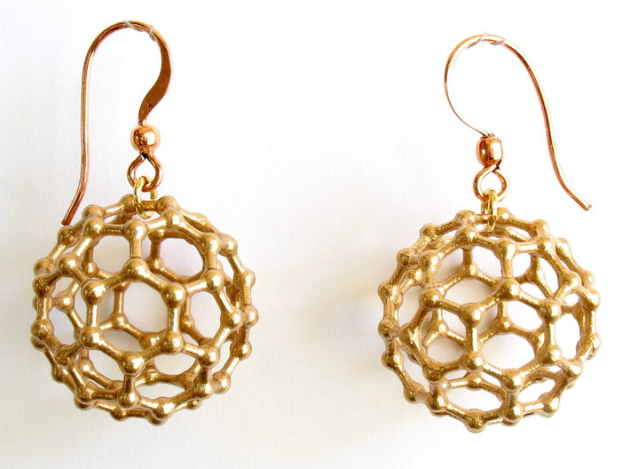 C60 Buckyball earrings 3d printed Earrings printed in bronze, with copper earwires added