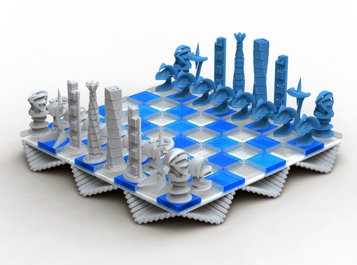 Chess Set Board Blue (PART 3) 3d printed Rendering