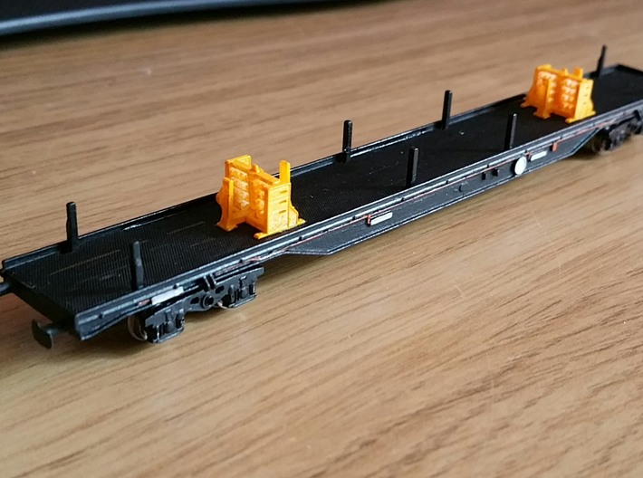 Perch Wagon with original style butts 3d printed Model printed in FUD with etched deck and ATM bogies added
