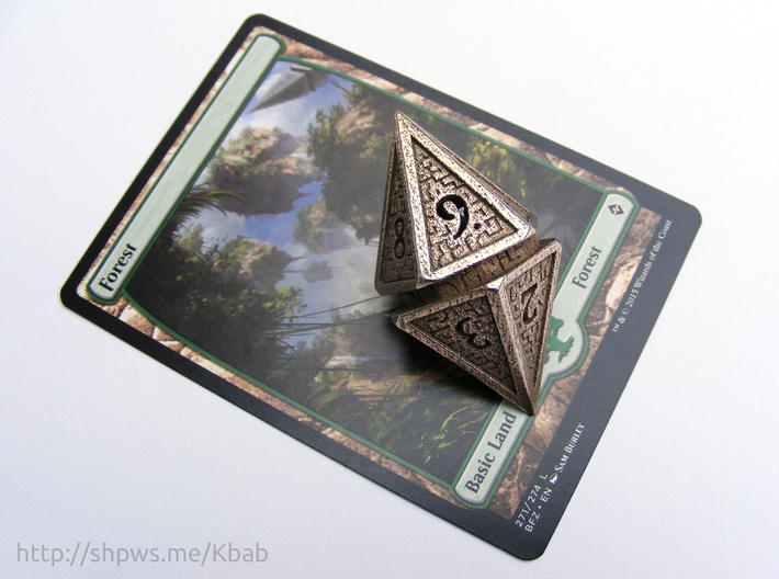 Hedron D10 Spindown Life Counter - HOLLOW DIE 3d printed Steel version with a Magic: the Gathering card for scale