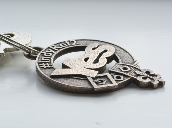 Clan Yes key fob 3d printed Lightly polished with metal polish to enhance contrast between raised and recessed areas
