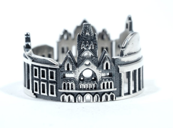 Boston Cityscape - Skyline Ring 3d printed Blackened Sterling Silver