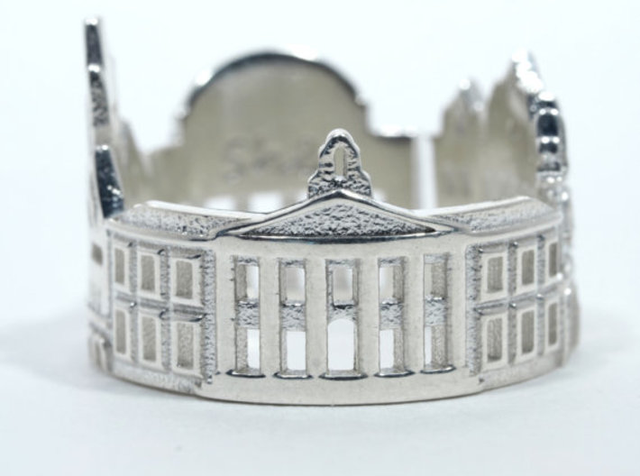 Boston Cityscape - Skyline Ring 3d printed Classic White Sterling Silver