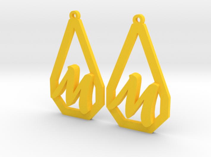 Teardrop Monogram Earrings Large (customizable) 3d printed