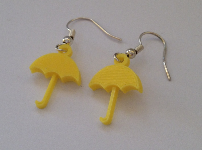Umbrella Earrings 3d printed This is a real product shot.