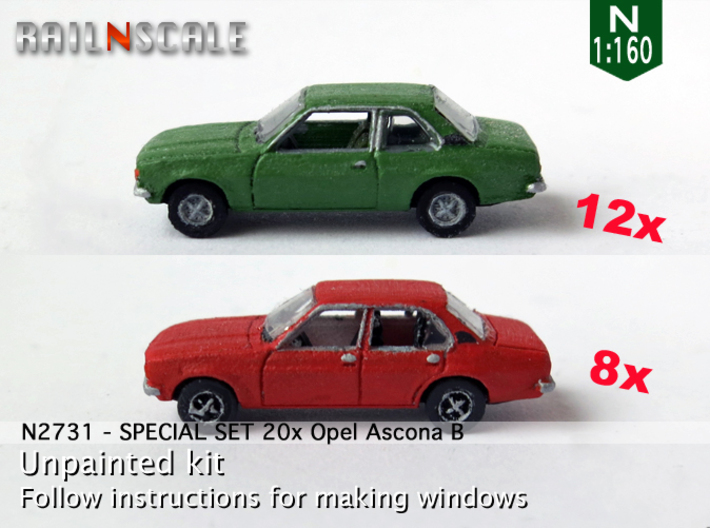 SPECIAL SET 20x Opel Ascona B (N 1:160) 3d printed