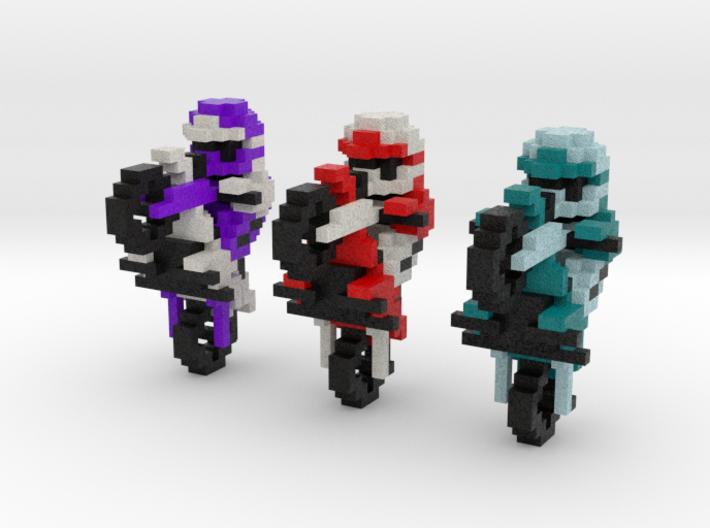 Excite Bike - Bikers (Set of 3) 3d printed Full Color Sandstone render.