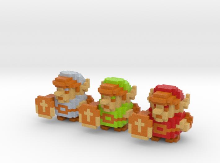 Link (Set of 3) 3d printed Full Color Sandstone render.