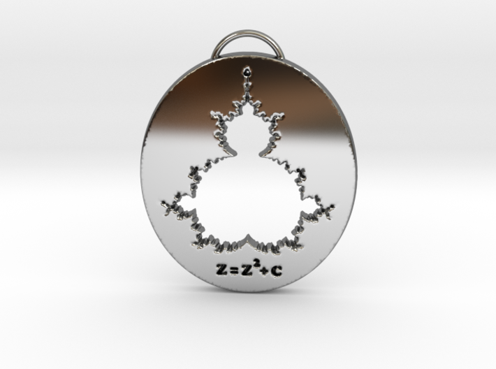 Mandelbrot Pendant with Equation 3d printed