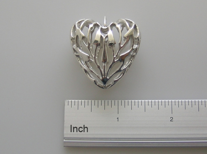 Bamboo Heart Pendant 3d printed Polished Sterling Silver