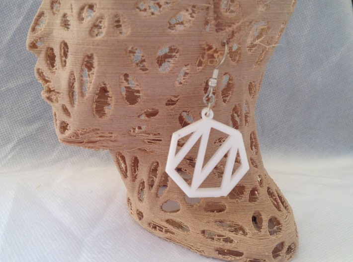 Heptagon Monogram Earrings (customizable) 3d printed This is a real product shot.