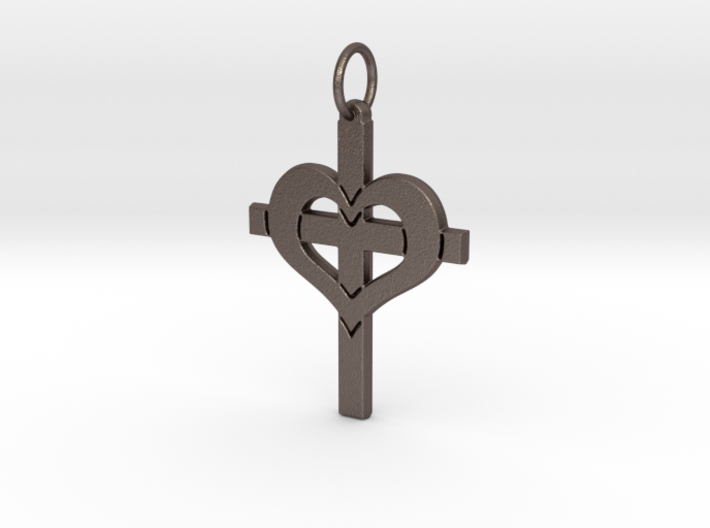 Christ in your Heart Crucifix Pendant 3d printed