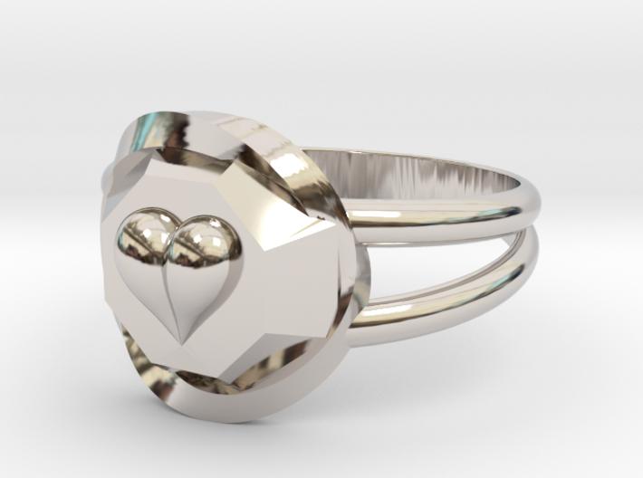Size 6 Diamond Heart Ring F 3d printed