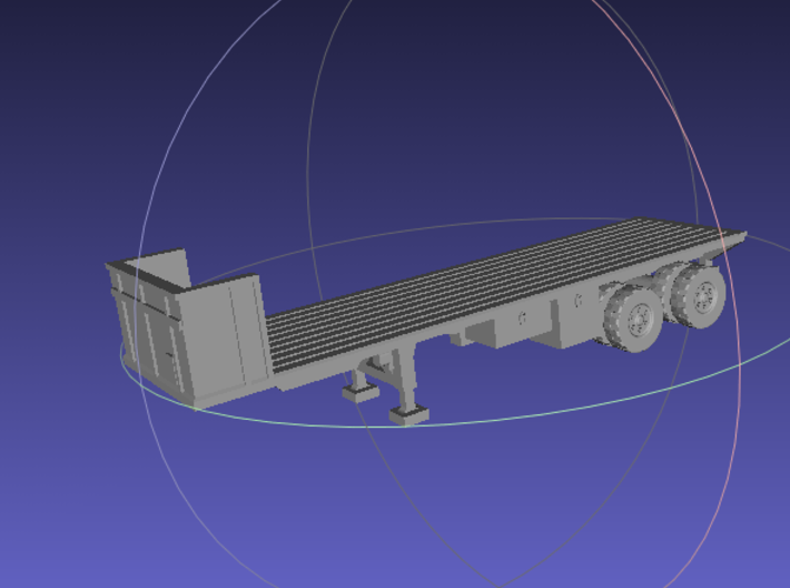 1/144 M871A2 Flat Bed Trailer 3d printed