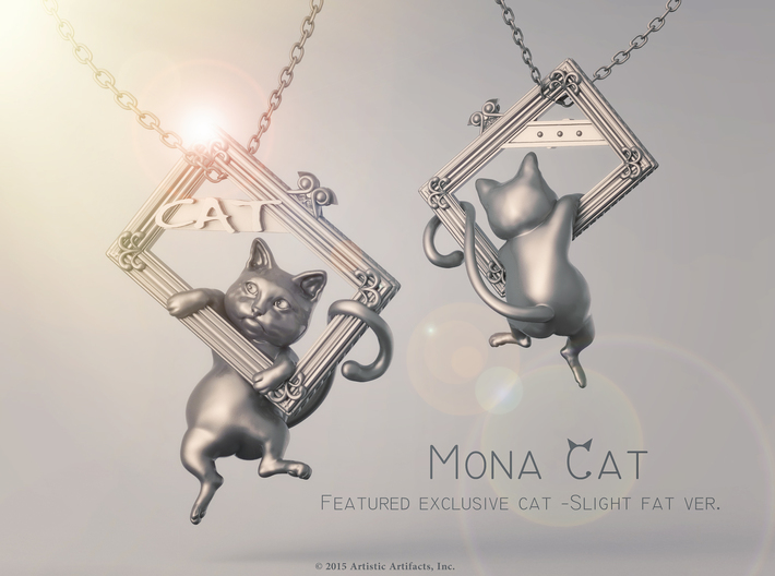 Mona Cat - Featured exclusive cat -Slight fat ver. 3d printed Simulation rendering polished silver effect.