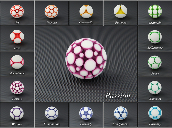 LuminOrb 1.6 - PASSION 3d printed Photograph of PASSION in Full Color Sandstone among LuminOrb Series I and II