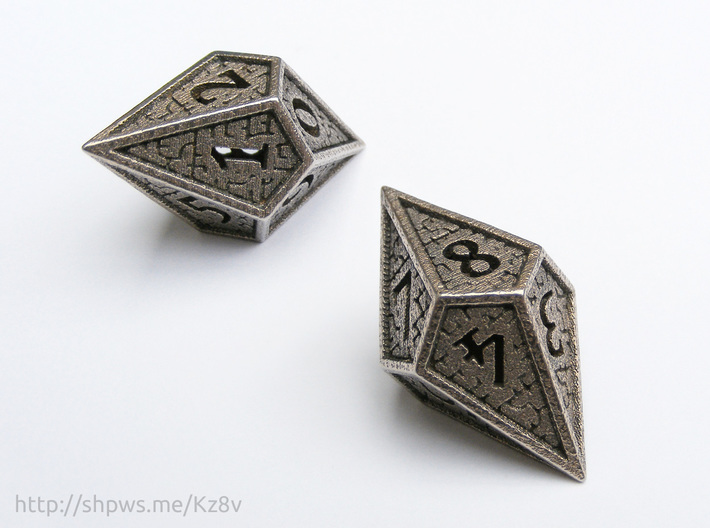 Hedron D10 (v2 closed) Spindown - Hollow 3d printed With two of these dice you can keep track of life totals from 1 to 100