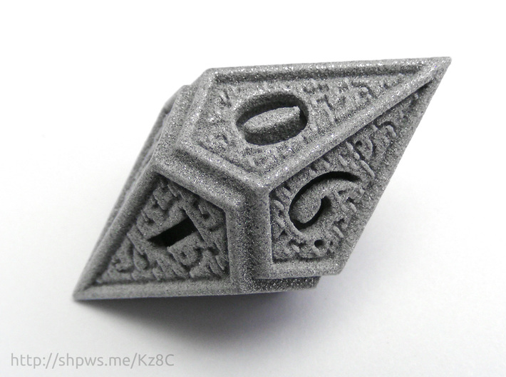 Hedron D10 (v2 open) Spindown - Solid 3d printed The numbers on the die are ordered in a spindown pattern