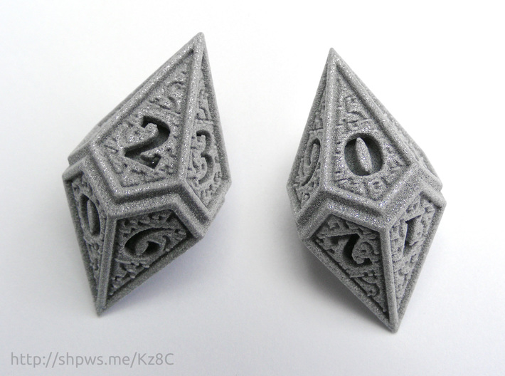 Hedron D10 (v2 open) Spindown - Solid 3d printed With two of these dice you can keep track of life totals from 1 to 100